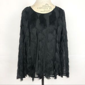Ann Taylor Feathered Fringe Striped Blouse
